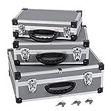 3er Set Aluminium Schloß mit je 2 Schlösser in jedem Koffer, Farbe silber, grau PRM10120