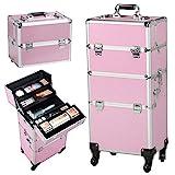 Yaheetech 3 in 1 Friseurkoffer Alu Kosmetikkoffer Trolley Beautycase Koffer Trolley mit Schlösser...