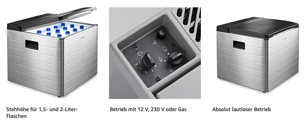 Die Dometic CombiCool RC 2200 EGP Absorber-Kühlbox funktioniert bei Bedarf sogar ohne Strom – nur mit Gaskartuschen (Foto: Amazon).