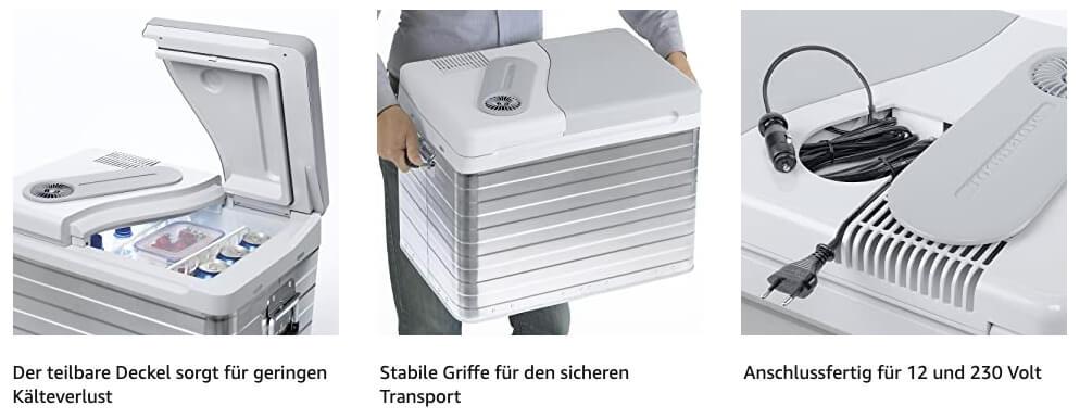 Die Vorteile der Mobicool Kühlbox sind überzeugend und der Preis um die 100 EUR ist schwer zu toppen (Fotos: Amazon).