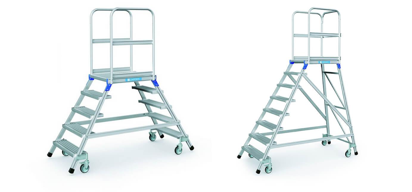 Links eine Podesttreppe mit beidseitigem Aufstieg, rechts eine mit einseitigem Zustieg – Zarges bietet mehrere Modelle die auch unterschiedliche Höhen abdecken (Foto: Zarges).