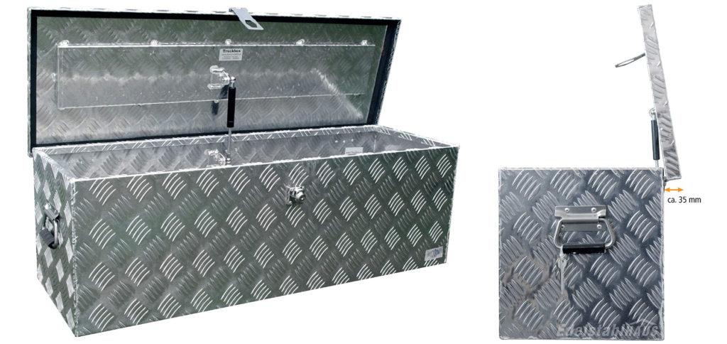 Der Truckbox D100 Werkzeugkasten aus Alu-Riffelblech mit Schloss, Deckelhalterung, Tragegriffen, ca. 100l Volumen und bester Qualität gibt es zum vernünftigen Preis. Die wasserdichte Box aus Aluminium eignet sich als Werkzeugkiste, Transportbox für die Ladefläche und mehr. Bild: Edelstahlhaus GmbH / Amazon